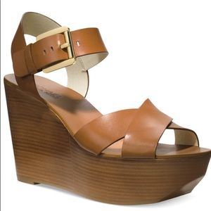 Michael Kors Stacked Wedge Platform Sandals 10 M